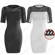NEW LADIES FISHNET TOP BODYCON DRESS WOMENS BLACK NET SLEEVE MINI DRESSES