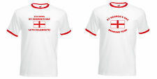 ST GEORGE'S DAY LETS CELEBRATE! or DRINKING TEAM T-SHIRT, WHITE RINGER S to XXL