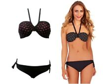 Womens Bikini Set Top + Bottoms Bandeau Halter Neck Polka Dot Ladies Size 8-14