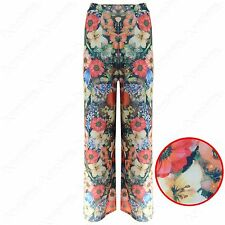 NEW WOMENS LADIES FLOWER PRINT STRETCH WAIST PALAZZO TROUSERS FLARE LOOK PANTS