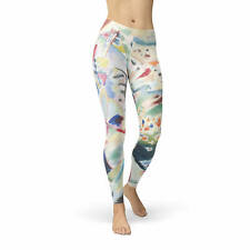 Kandinsky Abstract Art Painting Fleece Leggings Sizes XS-3XL Winter Warm