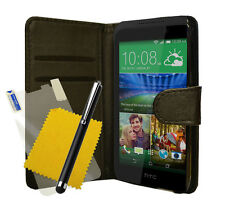 For HTC Desire 320 Black Leather Wallet Book Flip Case Cover & Free Screen Film