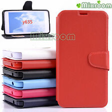 CUSTODIA COVER FLIP CASE A LIBRO CON STAND IN ECOPELLE PER HUAWEI ASCEND Y635