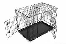 FoxHunter Pet Dog Puppy Cat Training Cage Crate Carrier Metal Two Door All Sizes