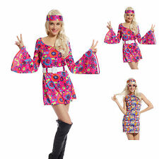 Ladies 1960s 1970s Fancy Dress Costume Flower Power Hippy Hippie Retro Gogo