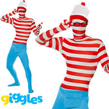 Mens Wheres Wally Second Skin Costume 80s World Book Day Week Fancy Dress Outfit