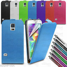 Real Genuine Leather Flip Case Pouch Cover For New Samsung Galaxy S5 SM-G900