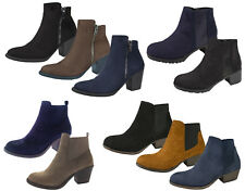 Womens Chunky Block Heel Chelsea Ankle Boots Faux Suede Leather Shoes Girls Size