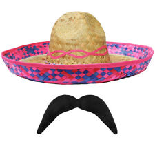 PINK STRAW SOMBRERO HAT + MOUSTACHE 6 PACK MEXICAN HEN STAG BANDIT FANCY DRESS