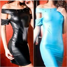 9098 - Sexy Black or Blue Metallic PVC Off Shoulder Figure Hugging Mini Dress 10