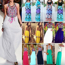 Women Bohemian Boho Floral Skirt Long Maxi Evening Party Dress Beachwear UK 6-20