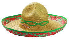 GREEN SOMBRERO HAT MEXICAN STRAW ACCESSORY HOLIDAY HEN STAG BANDIT FANCY DRESS