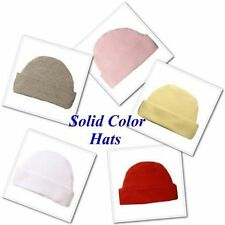 Solid Color Capped Unisex Baby Hats - Preemie and Newborn Sizes - 17 Colors