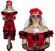 DAY OF THE DEAD LADIES HALLOWEEN SUGAR SKULL COSTUME FANCY DRESS MEXICAN