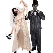 COUPLES DEAD BRIDE AND GROOM COSTUME WOMENS DRESS MENS STRIPED SUIT HALLOWEEN