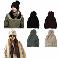 Unisex Fashion Winter Warm Women Men Knit Ski Beanie Ball Wool Cuff Hat Ski Cap