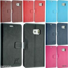 SAMSUNG GALAXY S6 SM-G920F & S6 EDGE LEATHER CASE COVER FLIP SCREEN PROTECTOR UK