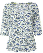White Stuff top lovely modal Chameleon print  NEW 8 10 rrp £35 cotton white blue