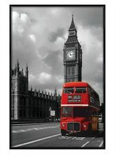 New Gloss Black Framed London Photography Red Double Decker Bus Poster