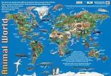 New Animals of the World Animal World Map Mini Poster