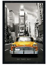 New Black Wooden Framed New York Taxi Number 1 Poster