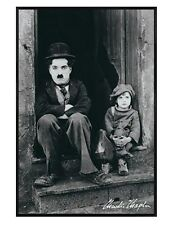 The Kid Gloss Black Framed Charlie Chaplin and Jackie Coogan Poster 61x91.5cm