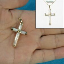 14k Yellow Gold Hand Crafted Popular Cross Tube White Mother of Pearl Pendant