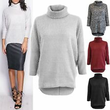 NEW WOMENS POLO NECK BOUCLE LOOK BATWING JUMPER LADIES HILO DIP HEM SWEATER TOP
