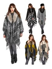 Womens Faux Fur Collar Poncho Wrap Knitted Shawl Throw Winter Cape Scarf Ladies