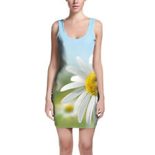 Daisies in Sunshine Bodycon Dress Sizes XS-3XL Sleeveless Stretch Short Dress
