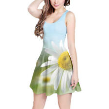 Daisies in Sunshine Sleeveless Dress Sizes XS-3XL Sleeveless Flared Dress