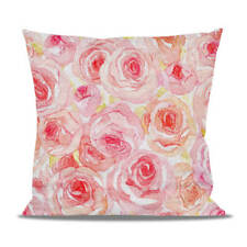 Watercolor Roses Fleece Cushion - Heart, Round or Square Shaped Pillow Case Cove