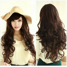 Womens Long Curly Wavy Full Wig Hair Synthetic Side Bang Cosplay Natural Looking