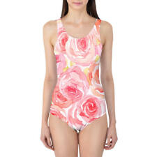 Watercolor Roses Women's Swimsuit XS-5XL One Piece with Removable Padding
