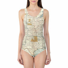 Antique United States Map Women's Swimsuit XS-3XL One Piece, Removable Padding