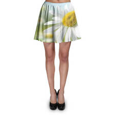 Daisies in Sunshine Skater Skirt XS-3XL Stretch Flared Short Skirt