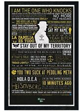 New Black Wooden Framed Breaking Bad The Many Sayings of Walter White Poster