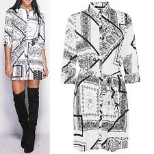 LADIES PAISLEY PRINT SHIRT DRESS WOMENS LONG SLEEVED BELTED CHIFFON BLOUSE TOP