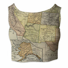 Vintage South West USA Map Sleeveless Crop Top - Sleeveless XS - 5XL