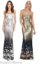 Goddiva Long Sequin Strapless Floral Maxi Evening Party Dress Prom Ball Wedding
