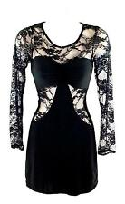 Young Blood 853 Women's Black Calf Length Lace Print Translucent Dress New