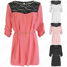LADIES LONG BLACK LACE TOP CHIFFON BLOUSE CHAIN BELT DIAMANTE WOMENS TUNIC DRESS