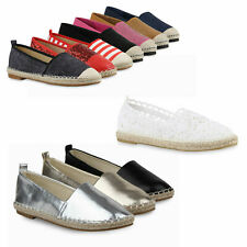Damen Espadrilles Bast Slipper Metallic Beach 79371 Schuhe