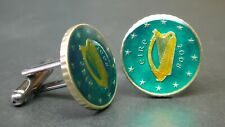 Ireland enamelled coin cufflinks euro coin 10 cent Harp