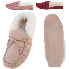 Ladies Womens Suede Sole Genuine Lambswool Lined Sheepskin Moccasin Slippers