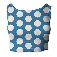 Large Polka Dots on Blue Sleeveless Crop Top - Sleeveless XS - 5XL