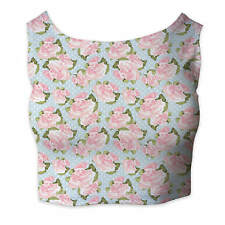 Pink Roses on Blue Polka Dots Sleeveless Crop Top - Sleeveless XS - 5XL