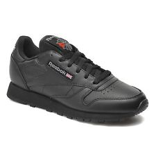 NEW Reebok Classic Junior Kids Unisex Childrens Leather Trainers Shoes - Black