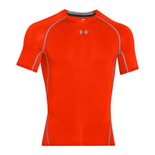 UNDER ARMOUR HEATGEAR COMPRESSION SHORT SLEEVE SHIRT ORANGE GRAPHITE 1257468-810