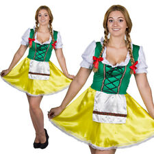 OKTOBERFEST LADIES BEER FESTIVAL BAVARIAN YELLOW GREEN FANCYDRESS COSTUME GERMAN